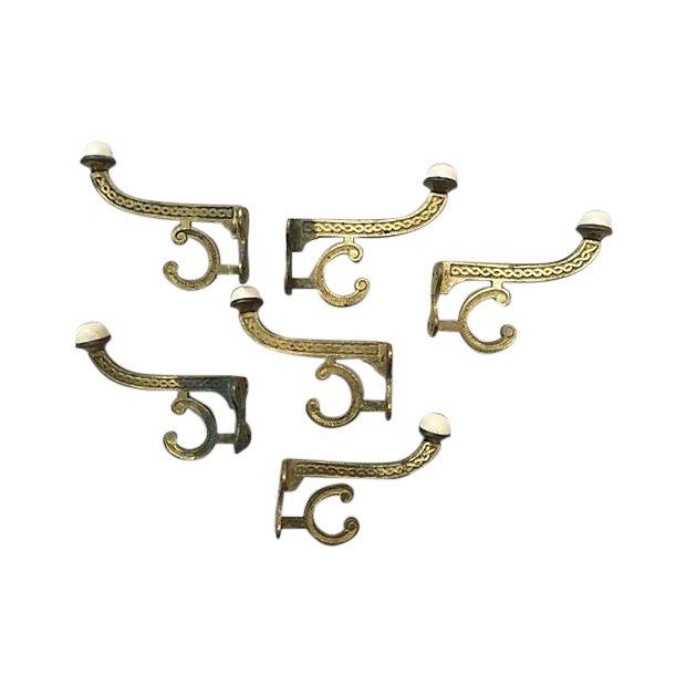 French Art Nouveau Clothing Hooks - S/6 - Image 1 of 7