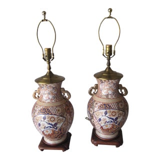 Mid 20th Century Imari Style Lamps on Wood Base - a Pair For Sale