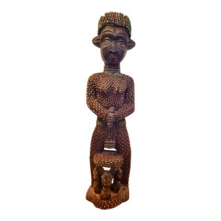 Bamileke Beaded Female Memorial Figure For Sale