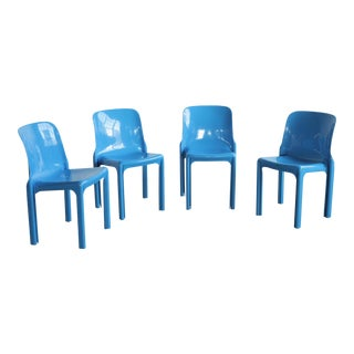 Vico Magistretti Stackable Blue Chairs- Set of 4 For Sale