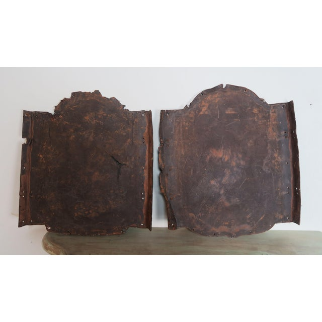 Blue Pair of 19th C. Spanish Leather Panels For Sale - Image 8 of 10