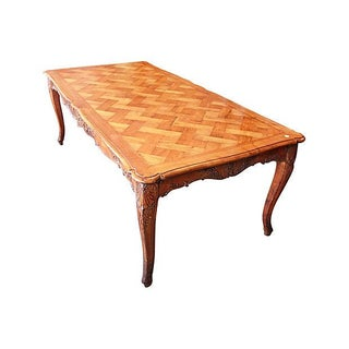 French Basket-Weave Cherry Dining Table For Sale