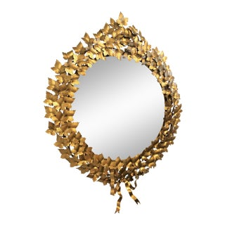 Neoclassical Style Gold Floral Mirror