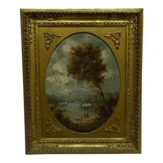 "Original Framed Painting on Board ""By the Lake"" by Van Blois"