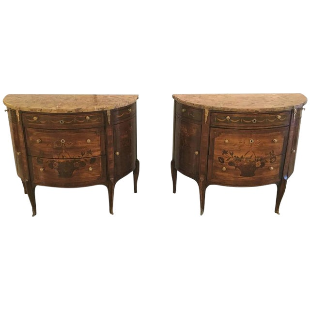 Pair of 19th Century French Louis XV Style Demilune Commode / Bedside Stands For Sale