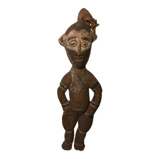 1960s Vintage African Carved Wood Sculpture For Sale