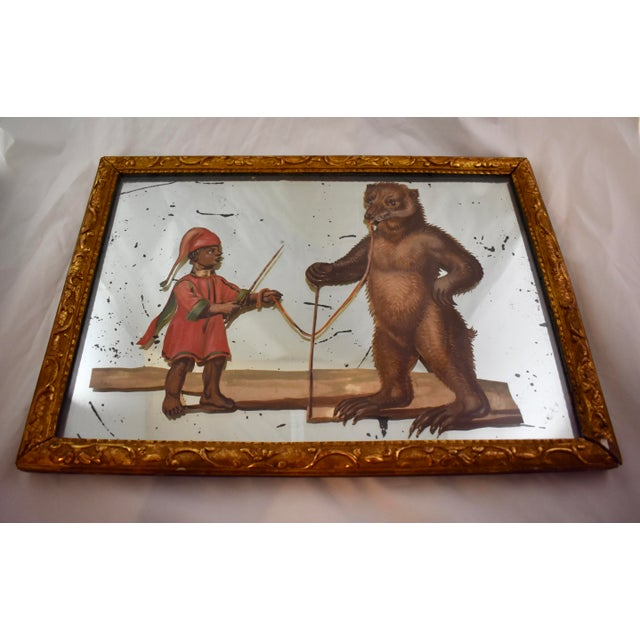 Figurative 19th C. French Exotic Hand-Painted Decoupage Mirror, Animal Trainer & Bear For Sale - Image 3 of 13