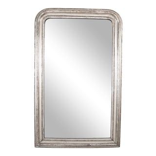 French Louis Philippe White Gold Leaf Framed Mirror with Scrafitto Etching For Sale