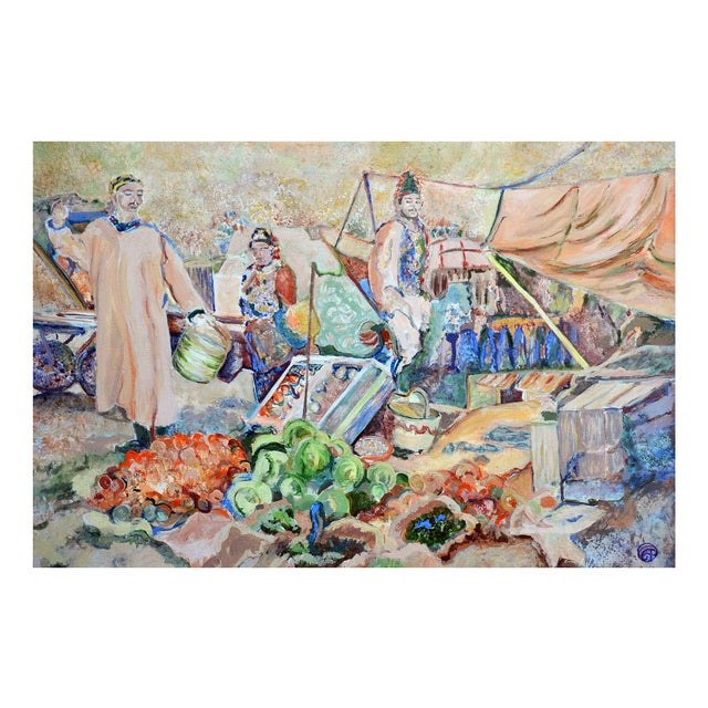 Nancy Gray Oriental Village Market Painting - Image 1 of 2