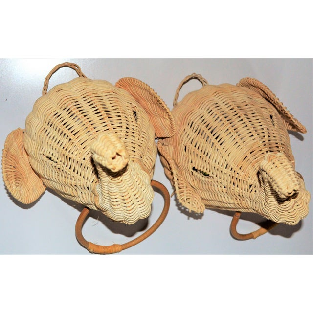 Elephant Wall Mount Wicker Towel Rings - a Pair For Sale In Houston - Image 6 of 12