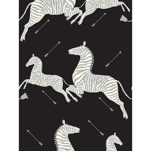 Safari Scalamandre Zebras, Black & Silver Wallpaper For Sale - Image 3 of 3