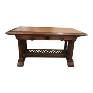 19th Century English Oak and Leather Writing Desk in the Gothic Style For Sale
