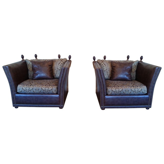 Safavieh Leather Nailhead Accent Chairs - Pair - Image 1 of 8