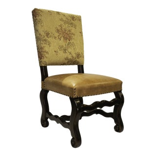20th Century Gothic Floral Fabric and Leather Dining Chair For Sale