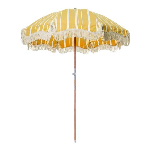 Premium Beach Umbrella - Vintage Yellow Stripe with Fringe For Sale
