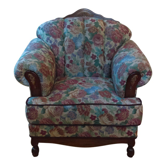 Traditional Floral Upholstered Club Chair For Sale