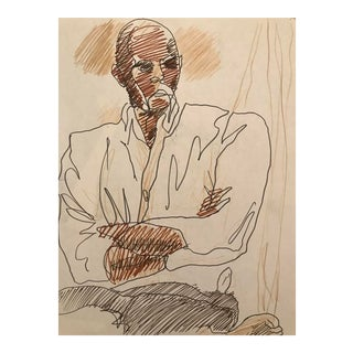 Portrait of a Man Drawing by James Bone For Sale