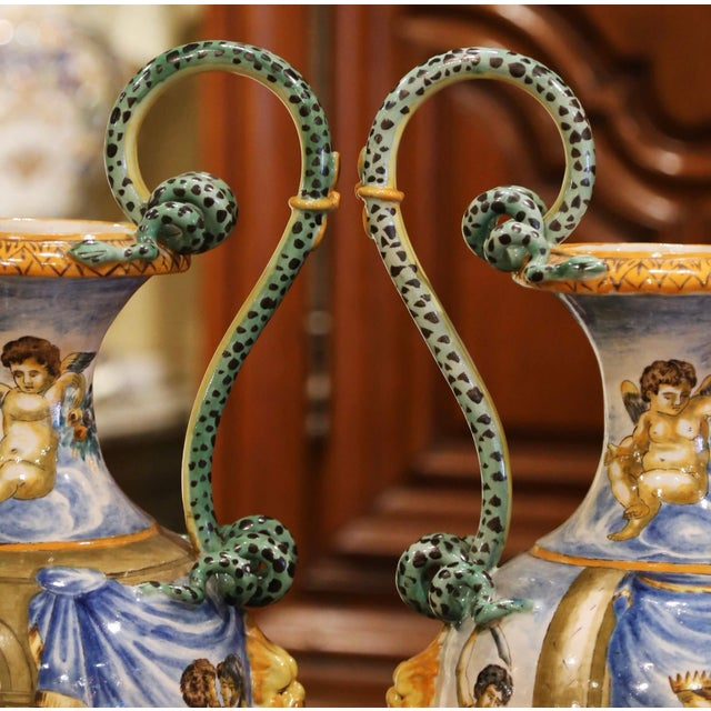 19th Century Italian Classical Painted Majolica Vases With Roman Scenes - a Pair For Sale - Image 10 of 13