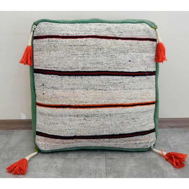 Turkish Hand Woven Floor Cushion Cover For Sale - Image 4 of 7