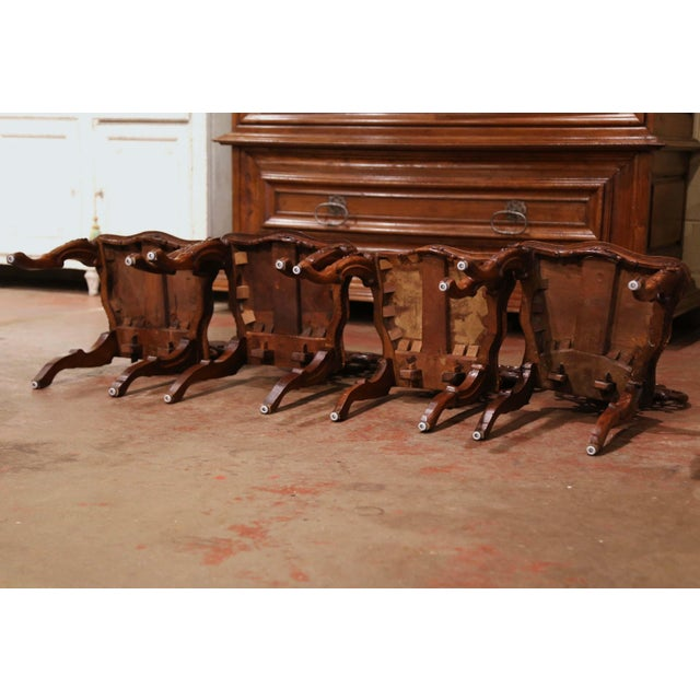 Set of Four 19th Century French Black Forest Carved Walnut Chairs For Sale - Image 11 of 13