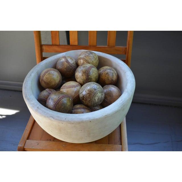 Antique Stone Mortar Bowl & 18 Antique Baseballs - Image 2 of 4