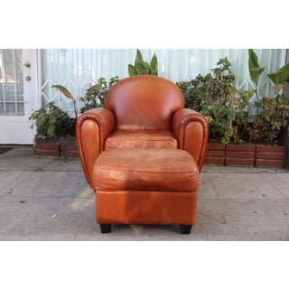 Vintage Burnt Orange Leather Club Chair and Ottoman Preview