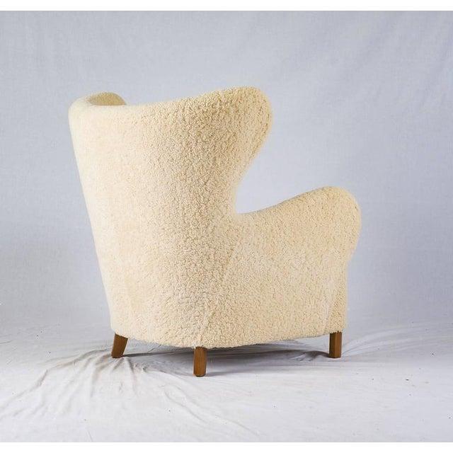 Scandinavian Sheepskin Lounge Chair - Image 6 of 10