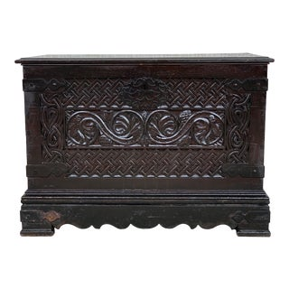 19th Spanish Baroque Walnut Trunk With Handcarved Decoration For Sale