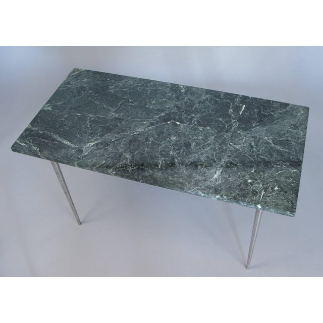 Vintage 1960s Steel and Green Marble Top Table For Sale In New York - Image 6 of 8