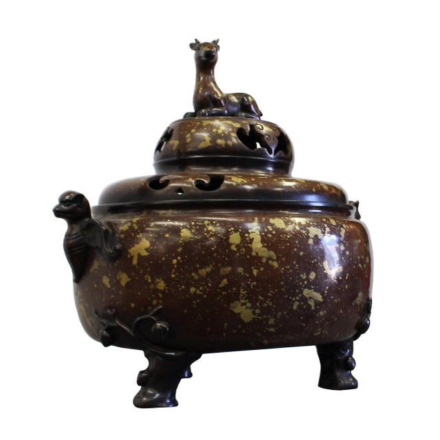 Asian Chinese Fine Bronze Metal Deer Theme Incense Burner For Sale - Image 3 of 7
