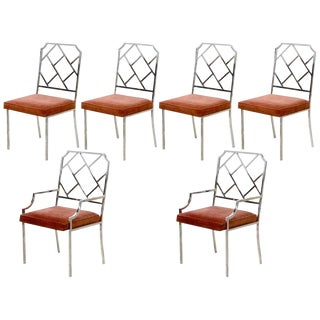 Set of Six Milo Baughman Chrome Chippendale Inspired Modern Dining Chairs For Sale
