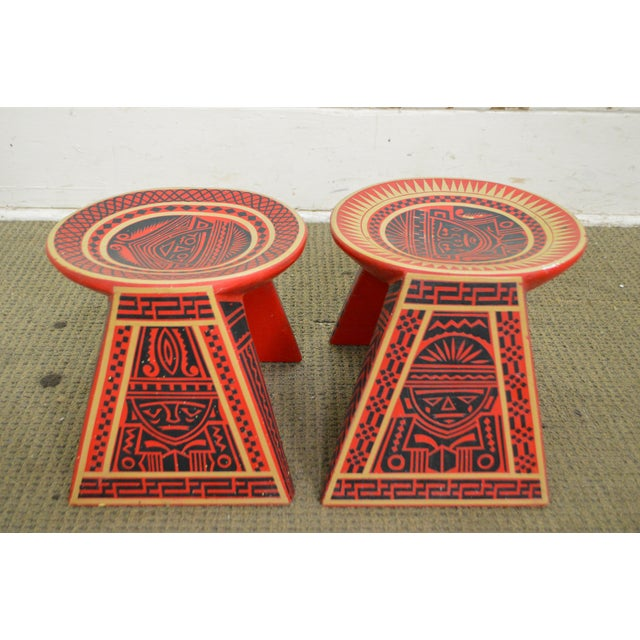 Vintage Hand Painted Aztec Tribal Stools - A Pair - Image 2 of 10