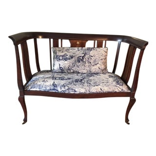 Mahogany Settee With Matching Oblong Pillow Cover
