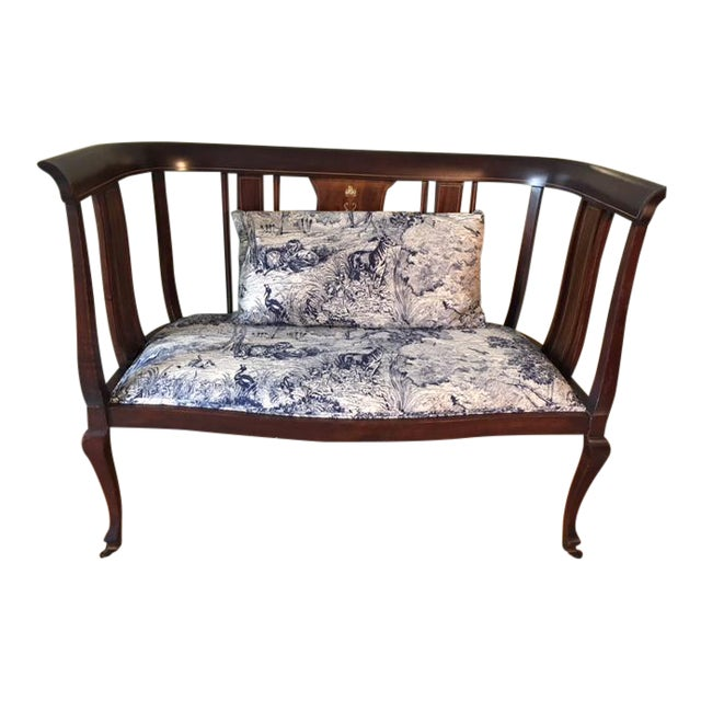 Mahogany Settee With Matching Oblong Pillow Cover For Sale