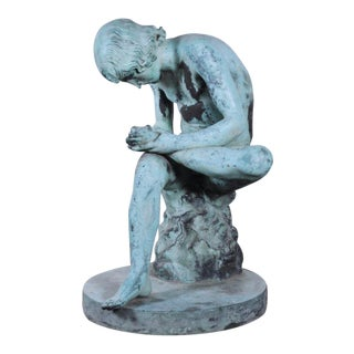 Early 20th Century Antique Boy Withdrawing Thorn From His Foot Bronze Sculpture For Sale