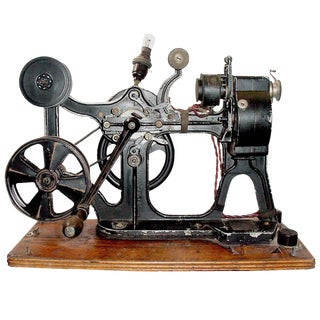 Pathe Hand Crank 28MM Cinema Projector Circa 1912 With Vintage Film. Display As Sculpture. For Sale