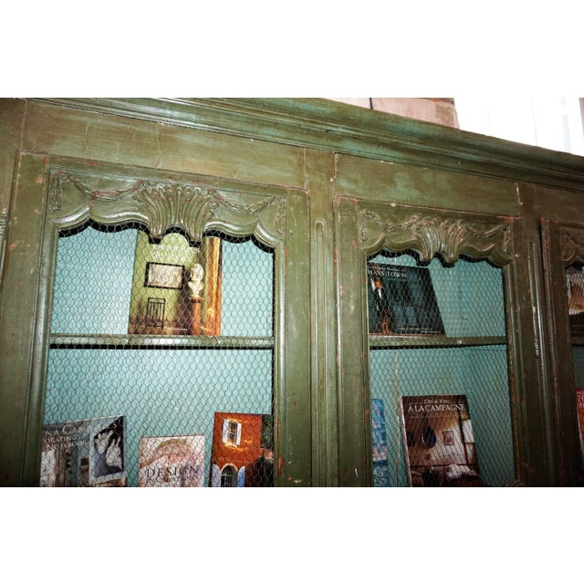 French Country 19th Century French Chicken Wire Painted Bookcase For Sale - Image 3 of 12