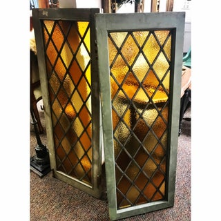 Industrial Amber Leaded Glass Windows - Set of 2 Preview