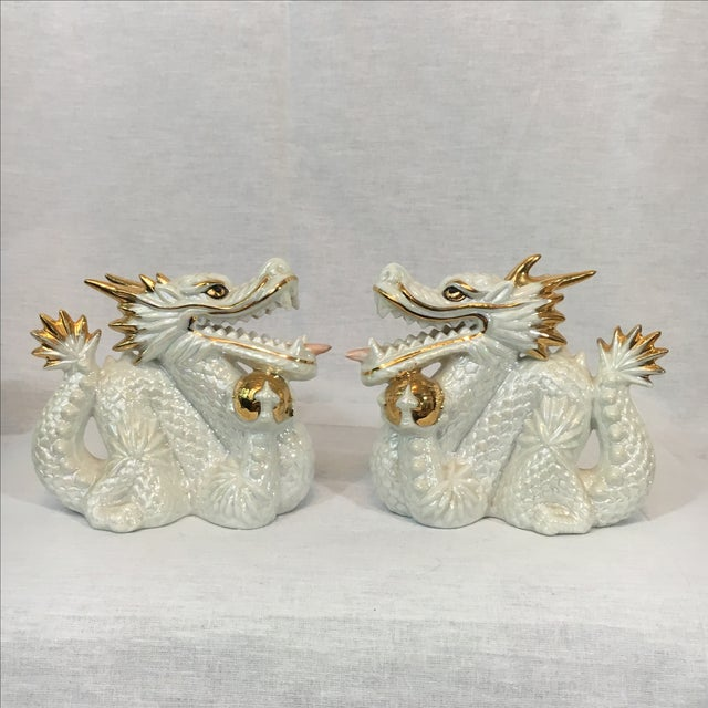 Ceramic White and Gold Dragons - Pair - Image 2 of 5