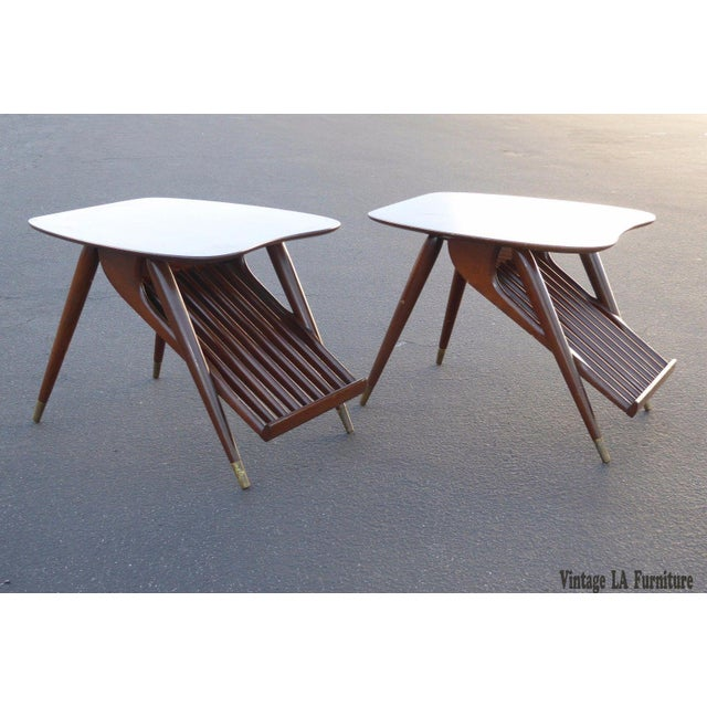 Danish Modern Magazine Rack Side Tables - A Pair - Image 4 of 11