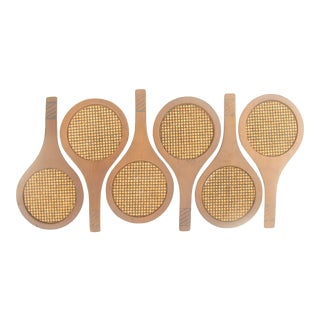 Mid-Century Modern Tennis Racquet Drink Coasters, Set of 6 For Sale