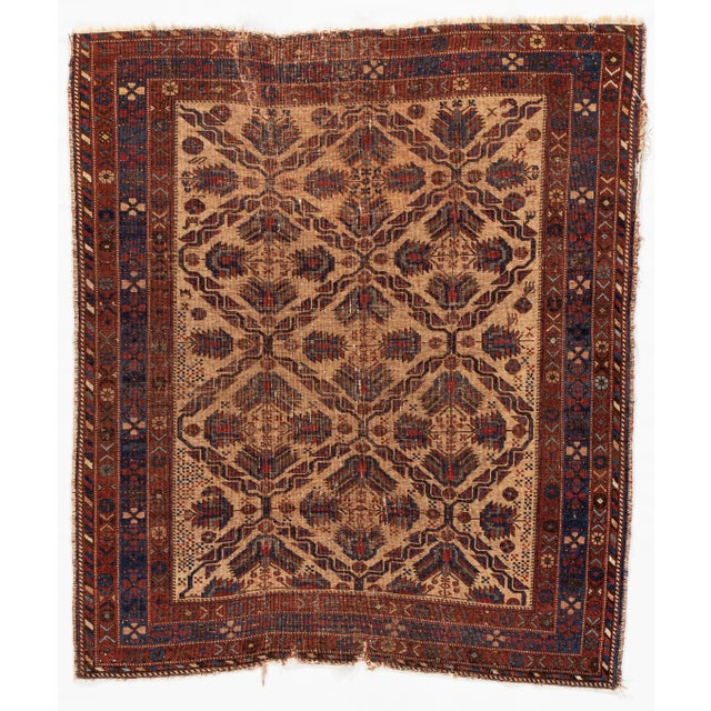Early 20th Century Antique Square Persian Afshar Handmande Wool Rug For Sale - Image 5 of 7