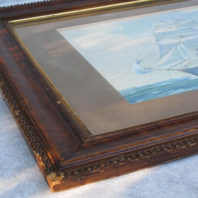 Nautical Framed Ship Watercolor Painting For Sale - Image 3 of 11