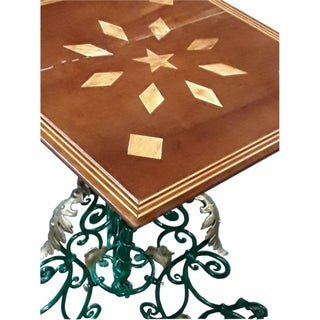 Antique French Art Nouveau Gueridon French Cast Metal Base Marquetry Wine Table Preview