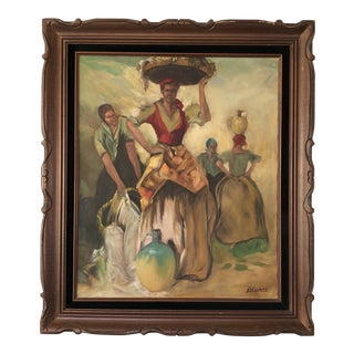 1960s Vintage Spanish Woman Carrying Basket on Head Painting For Sale