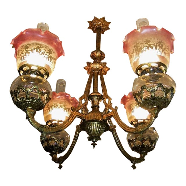 19c Pair of Bradley and Hubbard Gold Leaf 4 Arm Chandeliers For Sale