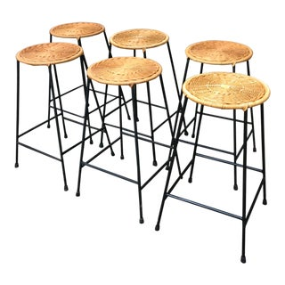 1960s Vintage Danny Ho Fong Iron and Wicker Bar Stools - Set of 6 For Sale