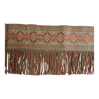 2 Pieces Wide Antique Tapestry & Fringe Victorian Valance Trim Passimenterie For Sale
