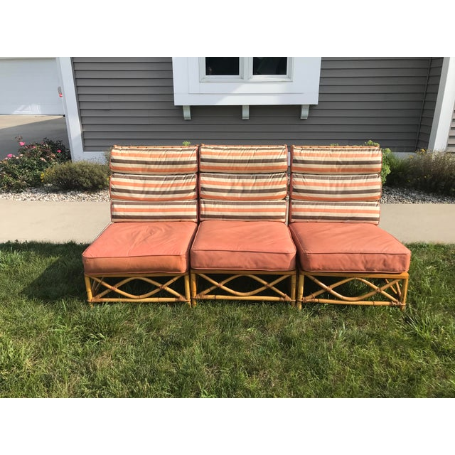 Mid-Century Modern Vintage Mid Century Ficks Reed Patio Outdoor Bentwood Bamboo Sofa, 3 Pieces For Sale - Image 3 of 11