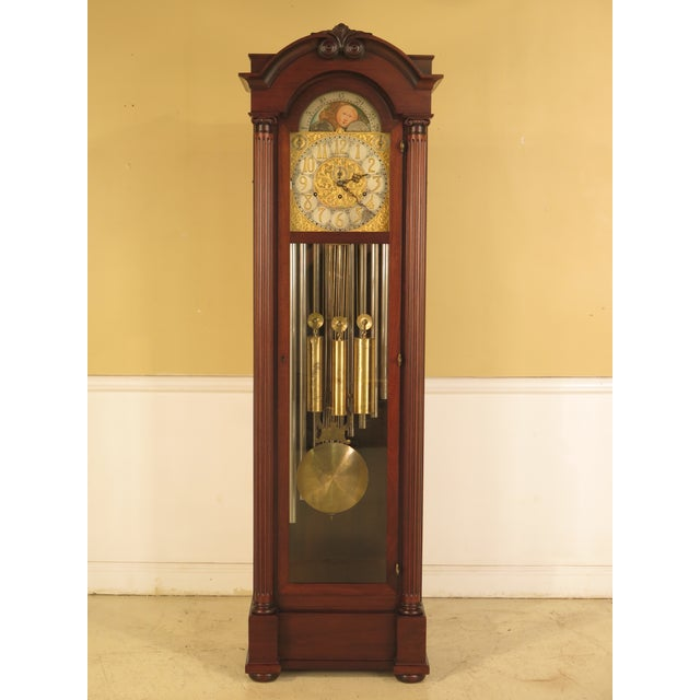 Vintage Jacques II Tube Mahogany Grandfather Clock For Sale - Image 11 of 11